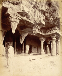 General view from the left of porch and entrance to Buddhist Vihara, Cave VII, Ajanta